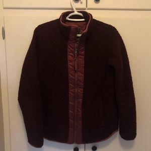 Abercrombie & Fitch Sherpa Jacket in Burgundy